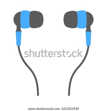 Vector flat illustration isolated blue earphones earbud icon on white background