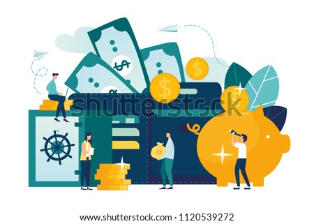 Vector flat illustration, large piggy bank in the form of a pig on a white background, open purse, financial services, small bankers are engaged in work, saving or accumulating money, a box of coins w