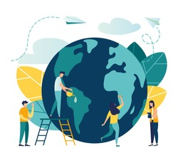 Vector flat illustration, little men prepare for the day of the Earth, save the planet, save energy, the concept of the Earth day vector