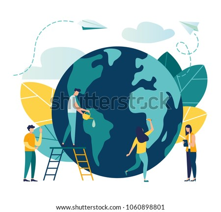 Vector flat illustration, little men prepare for the day of the Earth, save the planet, save energy, the concept of the Earth day