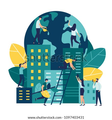 Vector flat illustration, little people are preparing for the holiday, saving the planet, World Environment Day, Bio technology, a city in the background of the planet