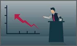 vector flat illustration of a businessman doing a presentation