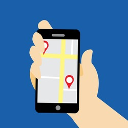 Vector flat illustration of a human hand holding a smartphone with a map app working