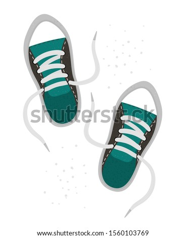 Vector flat illustration of a pair of snickers. Bright sport shoes icon. Foot outfit object isolated on white background. Clothes infographic element