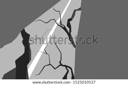 Vector flat illustration of an earthquake damaged road. Splits and cracks. Faults on the pavement. Natural disaster in the city. Modern cataclysm. Object for articles, cards, banners and your design.