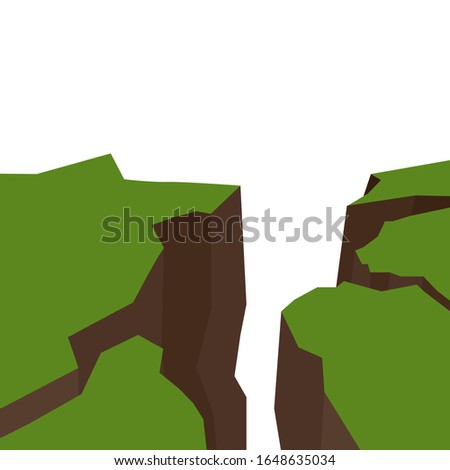 Vector flat illustration of an earthquake. Splits and cracks. Faults in the ground. Natural disaster. Modern cataclysm. Ravine and rocks on white background. Object for article, slide and your design.