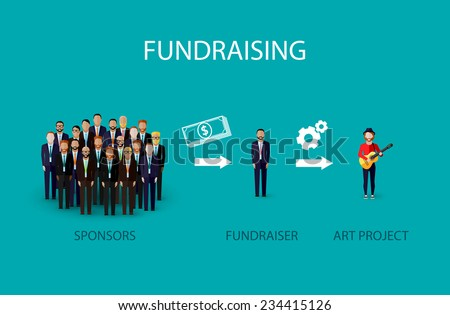 vector flat illustration of an infographic fundraising concept a group of business men giving money for non profit art project