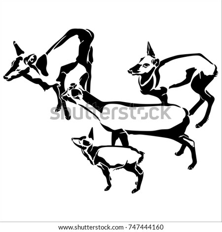 Illustrated Saddle Bronc Rider Black Stock Photo 47607493