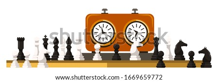 Vector flat illustration of chess on chessboard and clock isolated on white background. Chess pieces: bishop, horse, horse, king, knight, queen, rook, pawn. Board logic game for sportsmen and hobby Сток-фото ©