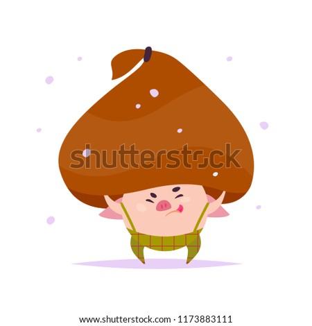 6dd54ef4428c9 Vector flat illustration of funny little pig elf in santa hat holding big  bag with xmas