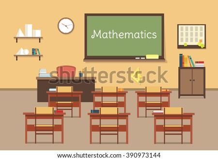 Vector flat illustration of mathematic classroom at the school, university, institute, college. Desks with books rulers, prism, pyramid, table, barrel. Lesson for diploma, teaching and learning