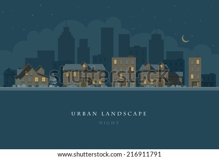 Vector flat illustration of night city landscape. Elements are layered separately in vector file. Easy editable.