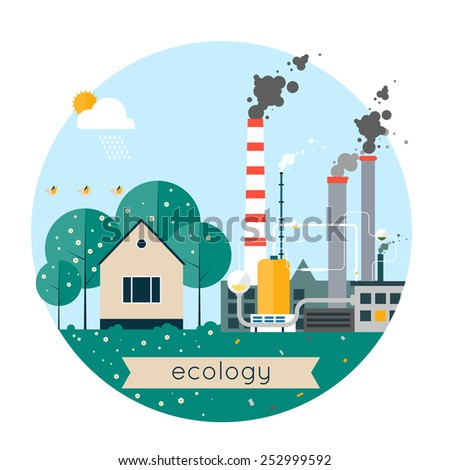 Vector flat illustration of pollution and eco-friendly landscapes. Ecology, environmental protection, village, production, factory, pollution, smoke, urban. Composition in lap. Poster, banner.