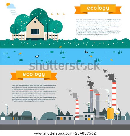 Vector flat illustration of pollution and eco-friendly landscapes. Ecology, environmental protection, green energy, production, factory, pollution, smoke, urban. Poster, banner. Horizontal banner