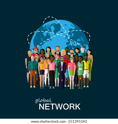 vector flat illustration of society members with a large group of men and women. population. modern society or global network concept  Foto stock ©