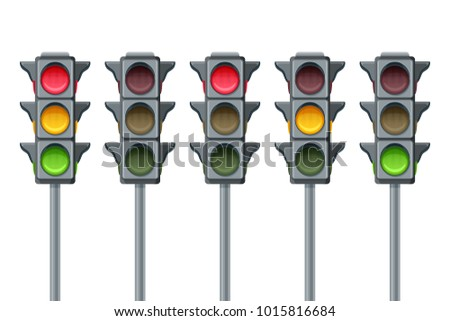 Vector flat illustration of traffic lights isolated on white background. Go, wait and stop signals and symbols. Red, yellow and green lights, icons set.