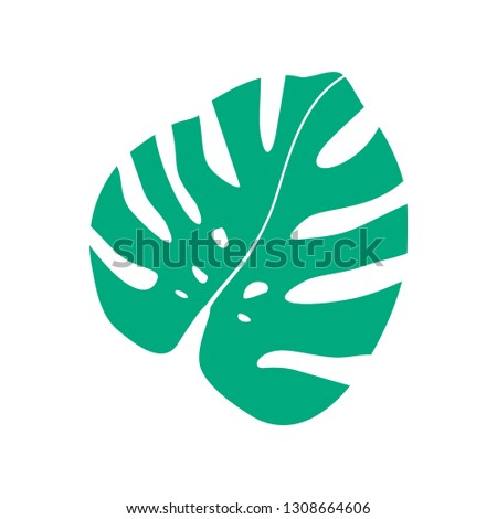 Vector flat illustration of tropical leaf of Monstera. Vector Monstera. Silhouette of Monstera.