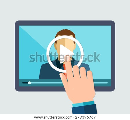 Vector flat illustration of webinar, online conference, lectures and training in internet.