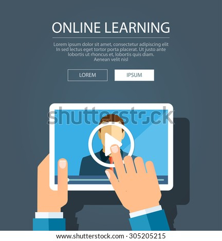Vector flat illustration of webinar, online conference, online learning, lectures and training in internet.