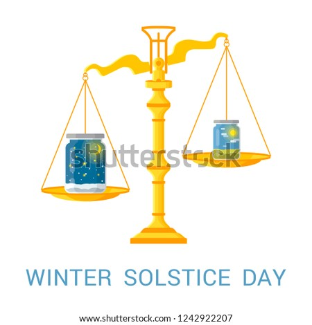 Vector flat illustration of winter solstice. Design concept with scales of justice and jars symbolizing the shortest period of daylight and the longest night of the year.