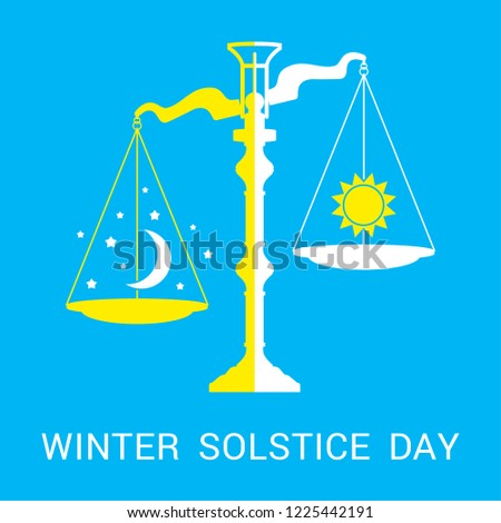 Vector flat illustration of winter solstice. Design concept with scales of justice, moon, stars and sun symbolizing the shortest period of daylight and the longest night of the year.