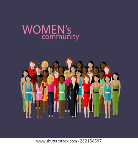 vector flat illustration of women community with a large group of girls and women feminist concept