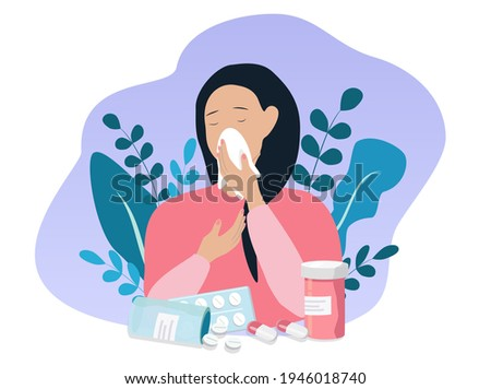 vector flat illustration on the theme of seasonal allergies, a young girl blows her nose into a paper handkerchief, next to flowers and medicines. antihistamines, allergies, runny nose.