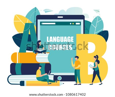 Vector flat illustration, online learning foreign languages, girl and boy for gadgets learn languages, online study through the website, communication with foreigners via the Internet