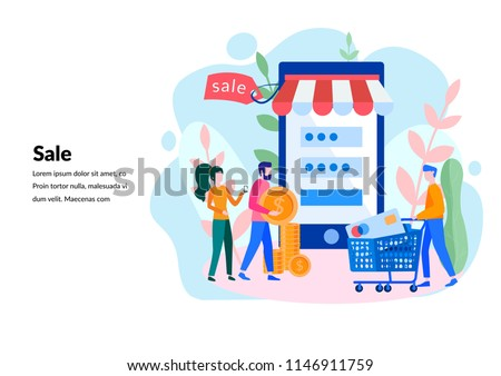 Vector flat illustration, online shopping, buying and selling, for web page, banner, presentation, social media, documents, cards, posters.  receiving a check through the phone, online store.