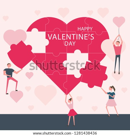 Vector flat illustration, people create a puzzle heart for the Valentine's day. Valentine card. Love concept. Creative idea. Template for banner. poster, congratulation for 14 february