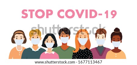 Vector flat illustration people of different nationalities. Set of man and woman in medical masks. Stop coronavirus. Covid-19. Save your health and stop the spread of the epidemic. Virus corona text.