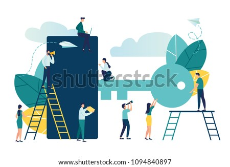 Vector flat illustration, people open the door with a key, lock, making keys urgently