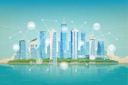 Vector flat illustration. Smart city. Modern buildings. Green city. Icons of wifi, internet, communication, locations, car rent, shopping of technology for smart city conceptual.