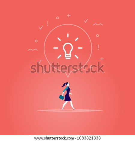 Vector flat illustration with business lady walking forwards her aim inspired new idea isolated on red background. Metaphor for leadership, genius idea, aspirations, motivation, move on, just do it.