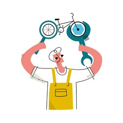 Vector flat illustration with happy worker who fixes Bicycle using abstract wrench, performs diagnostics through magnifying glass. Concept repairing bicycles and other means of transportation.
