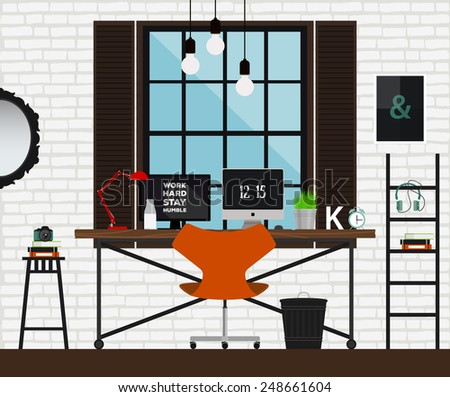 creative furniture icons set flat design. Creative Furniture Icons Set Flat Design. Vector Illustration  Workplace In Loft Interior. Desk Design E