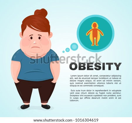 Vector flat illustration young woman  character with a obesity infographic icon. excess weight problem, fat, health care, unhealthy lifestyle concept design