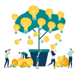 Vector flat illustrations, business meetings and brainstorming, business concept for teamwork, search for new solutions, tree with bulbs and ideas