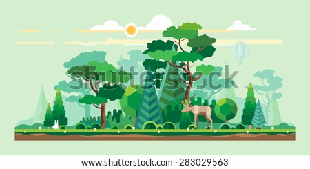 Vector flat illustrations - Eco style life. Abstract forest. Wildlife. Forest view