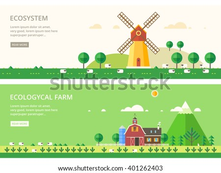 vector flat illustrations   eco