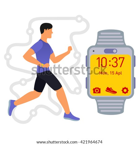 vector flat image male runner