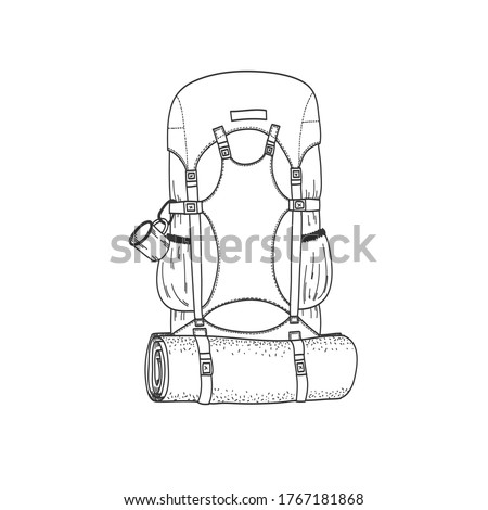 Vector flat image of a backpack. Travel backpack. Go Hiking, camping. A backpack with a mug and a mouse pad. Linear drawing Stockfoto ©
