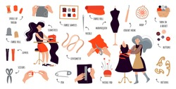 Vector flat infographics sewing courses. Women create designer clothes with their own hands. Illustration for sewing courses, a training site, a poster with master classes. Set of items for sewing