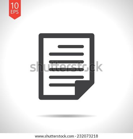 Vector flat isolate gray document icon. Eps10