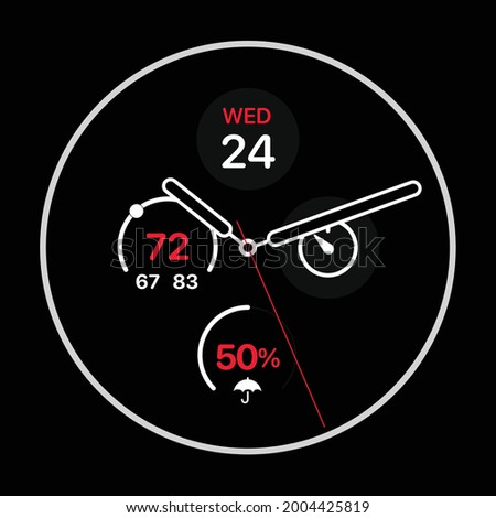 Vector Flat Isolated Smart Watch Black. clock and watch quadrant. wall hanging. wall hang clock mockup template design. Smartwatch print.   Stock photo ©