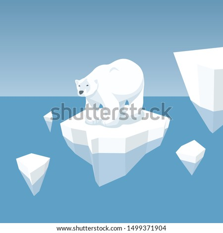 Vector Flat Isometric Global Warming Illustration. Melting Iceberg And White Bear. Effect Of Global Warming In Nature. Conceptual Image Of Melting Glacier With Polar Bear In Deep Blue Water