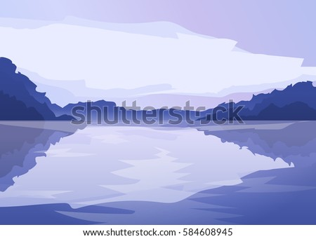 vector flat lake landscape