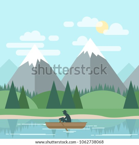 Vector flat landscape with man in boat and mountains and forest in background