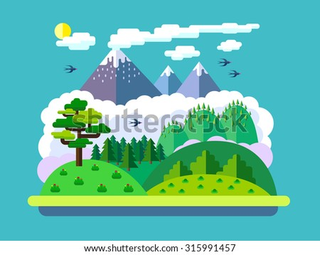 vector flat landscape with