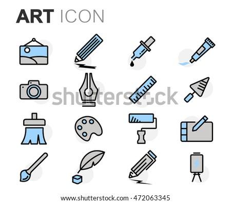 Vector flat line art icons set on white background